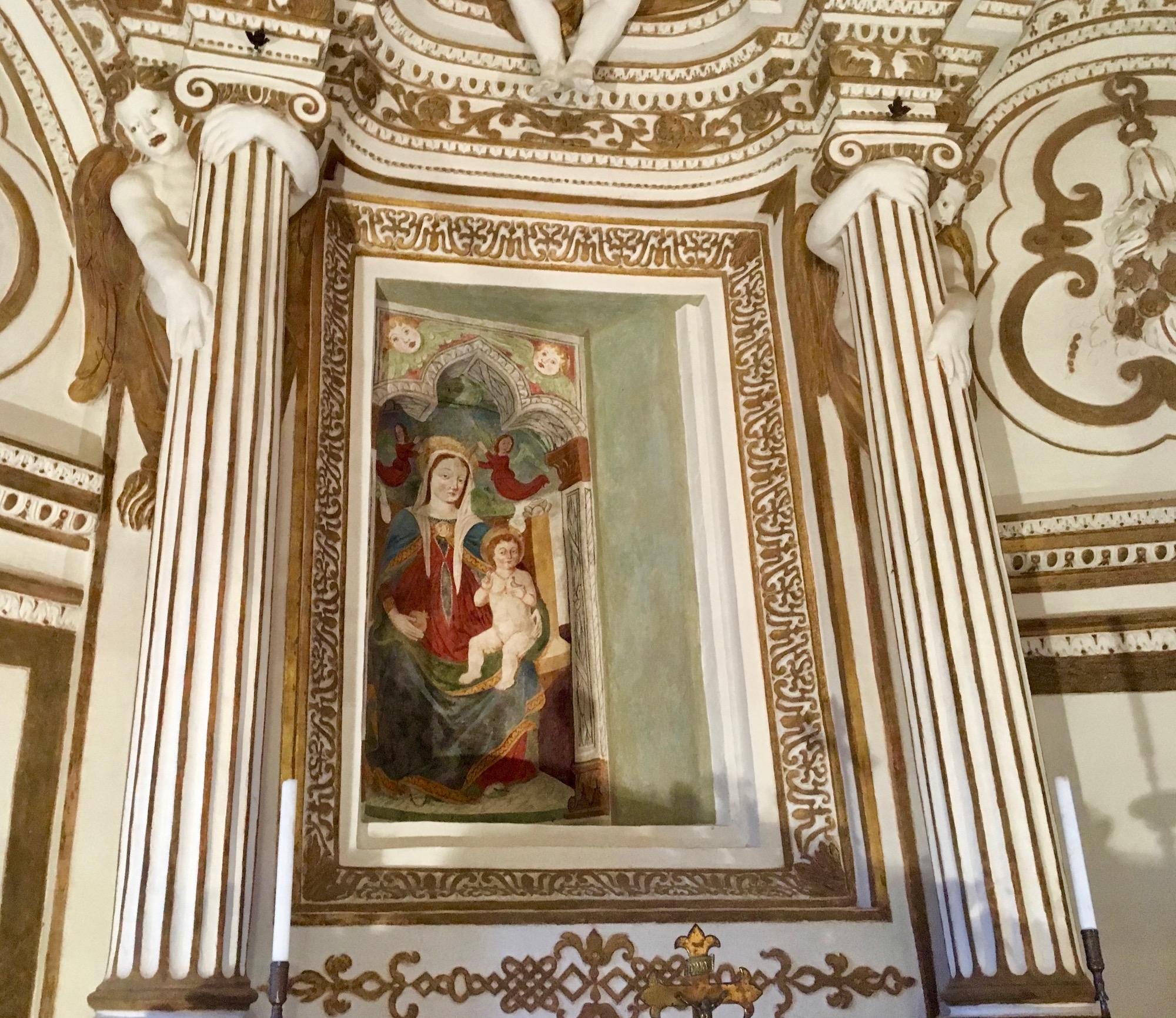 Affresco Madonna con Bambino con cardellino -Santuario di Sabbio